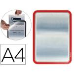 Marco porta anuncios Tarifold magneto tamaño A4 dorso adhesivo removible color rojo pack de 2 unidades