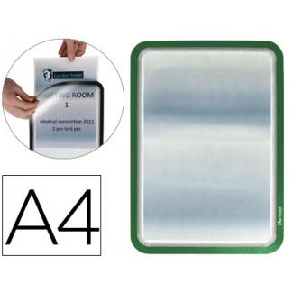 Marco porta anuncios gtarifold magneto tamaño A4 dorso adhesivo removible color verde pack de 2 unidades
