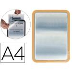 Marco portasanuncios Tarifold magneto tamaño A4 dorso adhesivo removible color naranja pack de 2 unidades