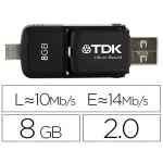 Memoria usb Tdk flash 8 gb 2.0 2 en 1 usb y micro usb color negro para android