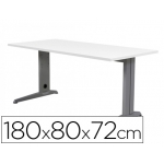 Mesa de oficina Rocada metal aluminio /blanco 180x80 cm