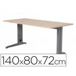 Mesa de oficina Rocada metal aluminio /haya 140x80 cm