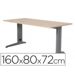 Mesa de oficina Rocada metal aluminio /haya 160x80 cm