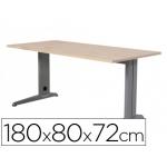 Mesa de oficina Rocada metal aluminio /haya 180x80 cm