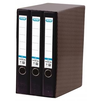 Modulo Elba 3 archivadores de palanca tamaño A4 2 anillas color negro lomo de 50 mm