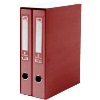 Modulo Liderpapel 2 archivadores tamaño folio 2 anillas mixtas 75 mm color rojo