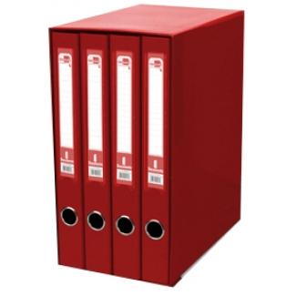 Modulo Liderpapel 4 archivadores tamaño folio 2 anillas mixtas 25 mm color rojo