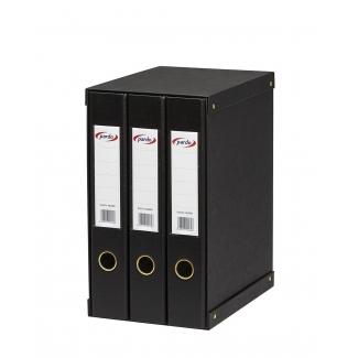 Modulo Pardo 3 archivadores de palanca tamaño folio 2 anillas de 40 mm color negro