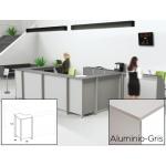 Mostrador de recepción Rocada welcome curvo aluminio/ color gris 68x68x118 cm