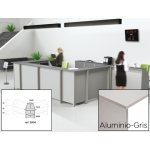 Mostrador de recepción Rocada welcome curvo aluminio/ color gris 70x70x118 cm