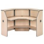 Mostrador de recepción angular 90º welcome estructura de haya y tablero de haya 68x68x118 cm