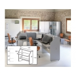Mostrador de recepción recto welcome estructura aluminio y tablero color gris 126x67x118 cm
