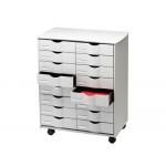 Mueble auxiliar Fast-PaperFlow para oficina color negro 16 cajones en 2 columnas gris5x382 71,5x58x34,3 cm