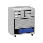 Mueble Fast-PaperFlow para oficina 4 cajones y puerta de persiana color gris 70,1x54,7x40,7 cm