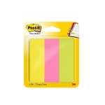 Post-it 671/3 - Banderitas separadoras adhesivas, 25 x 76 mm, colores amarillo, rosa y verde lima, pack de 3 colores surtidos, blocs de 100 hojas