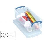 Organizador archivo plástico transparente con tapa0,9 litros 70x100x220 mm