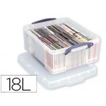 Organizador archivo plástico transparente con tapa18 litros 200x390x480 mm
