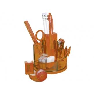 Organizador sobremesa con accesorios color naranja translúcido