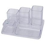 Organizador sobremesa plástico Offisys 5 departamentos transparente