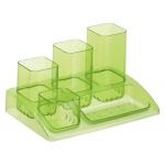 Organizador sobremesa plástico Offisys 5 departamentos color amarillo translúcido