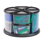 Organizador sobremesa plástico archivo con 9 compartimentos en forma triangular transparente
