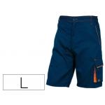 Pantalón de trabajo Deltaplus bermuda cintuja ajustable 5 bolsillos color azul naranjatalla l