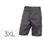 Pantalón de trabajo Deltaplus bermuda cintura ajustable 5 bolsillo color gris verde talla xxxl