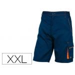 Pantalón de trabajo Deltaplus bermuda cintura ajustable 5 bolsillos color azul naranjatalla xxl