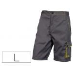 Pantalón de trabajo Deltaplus bermuda cintura ajustable 5 bolsillos color gris verde talla l