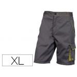 Pantalón de trabajo Deltaplus bermuda cintura ajustable 5 bolsillos color gris verde talla xl