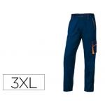 Pantalón de trabajo Deltaplus cintura ajustable 5 bolsillos color azul naranja talla 3xl
