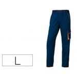 Pantalón de trabajo Deltaplus cintura ajustable 5 bolsillos color azul naranja talla l