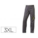 Pantalón de trabajo Deltaplus cintura ajustable 5 bolsillos color gris verde talla 3xl
