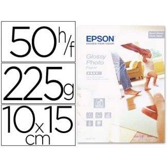 Papel Epson glossy photo paper 10x15 cm , 50 hojas- 225gr