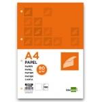 Papel Liderpapel tamaño A4 80 gr/m2 paquete de 100 4 taladros color blanco