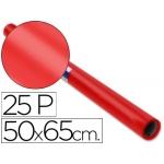 Papel charol rollo color rojo 25 hojas de 50x65 cm