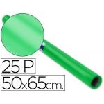 Papel charol rollo color verde 25 hojas de 50x65 cm