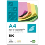 Papel color Liderpapel tamaño A4 75g/m2 neon 4 colores surtidos paquete de 100