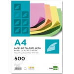 Papel color Liderpapel tamaño A4 75g/m2 neon 4 colores surtidos paquete de 500