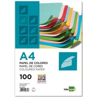 Liderpapel PC62 - Papel de color, A4, 80 gramos, 25 colores surtidos, paquete de 100 hojas, 4 hojas por color