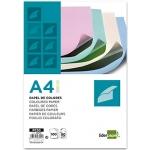 Papel color Liderpapel tamaño A4 80 gr/m2 4 colores surtidos paquete de 100