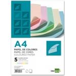 Papel color Liderpapel tamaño A4 80 gr/m2 5 colores surtidos paquete de 500