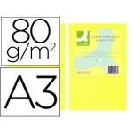 Papel color Q-connect tamaño A3 80gr amarillo neon paquete de 500 hojas