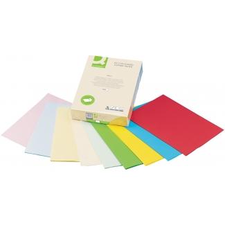 Q-Connect KF02243 - Papel de color, A4, 80 gramos, 5 colores surtidos intensos, paquete de 500 hojas, 100 hojas por color