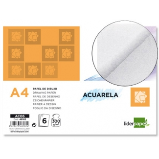 Liderpapel AC06 - Papel acuarela, A4, sobre de 6 hojas, 300 gramos