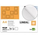 Papel dibujo Liderpapel lineal 210x297 mm 130 gr/m2 con recuadricula de pack de 10