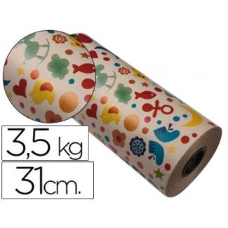 Papel fantasía color kraft havana motivo infantil bobina 31 cm 3,5 kg