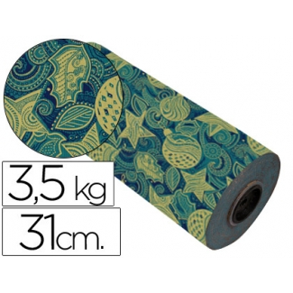 Papel fantasía color kraft havana motivo navidad bobina 31 cm 3,5 kg