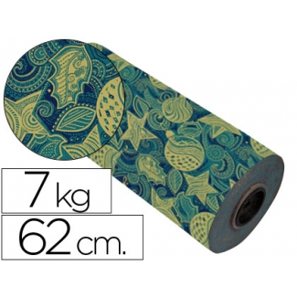 Papel fantasía color kraft havana navidad bobina 62 cm 7 kg