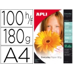 Papel fotográfico Apli glossy tamaño A4 pack 100 hojas de 180 grs